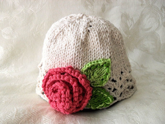 Baby Hats Knitting Knit Baby Cloche Knitted Baby Hat with Rose  f3f9a588fd8