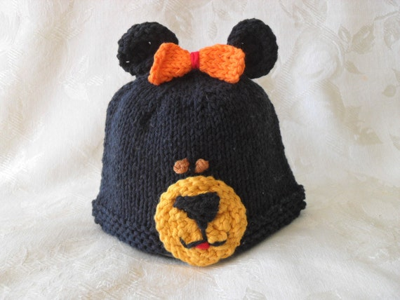 74bd3f56bd5 Knitted Black Bear Baby Hat Knitting Knit Baby Beanie Knitted