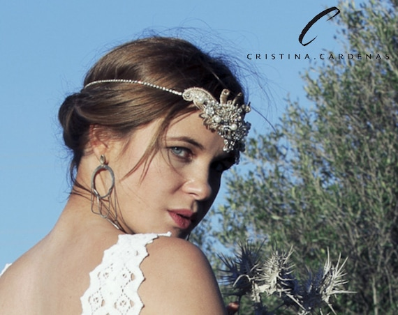 Wedding lace head piece with rhinestone AURIUM