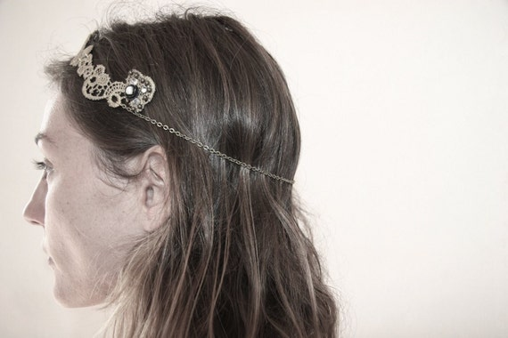Floral gold  lace bridal head band. hippie  and natural wedding.