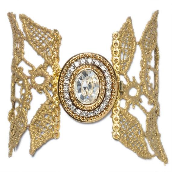 Gold Lace  oversized roses bracelet, vintage gold plated  brooch