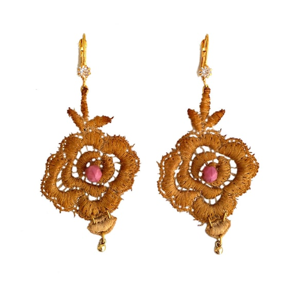 wedding gold lace earrings
