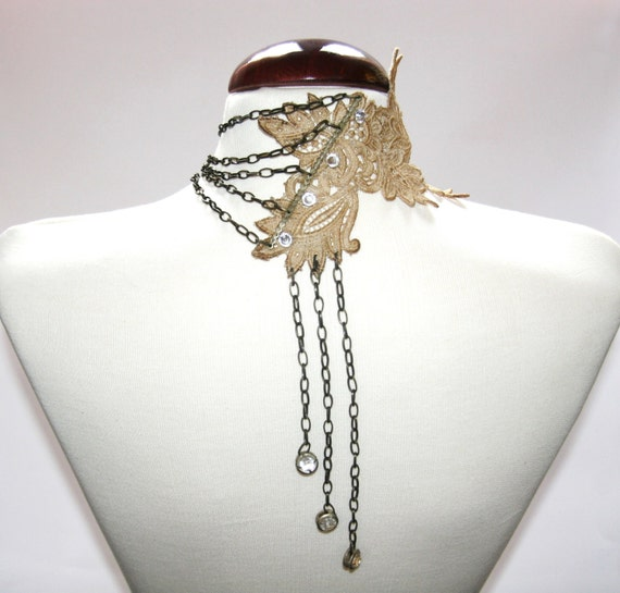 """Venice lace necklace, vintage wedding  necklace, very sexy and chic necklace in the back. party necklace"""" Veroc"""""""