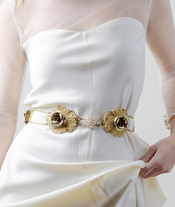 wedding gold lace belt. bridal gold belt, flower bridal belt