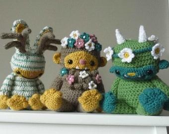 Forest Friends TRIPLE PACK - THREE Amigurumi Crochet Patterns