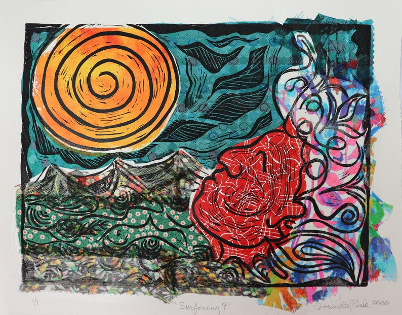 mixed media linoleum prints on Stonehenge paper. Surfacing 9 from a series of 10 unique multi-color