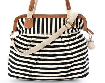 a26229439ff Black and White Stripes Canvas Handbags, Diaper bag, Messenger Bag, Sling  Bag, Cross Body Bag,Shoulder Bag, Tote bags, Women bag, Vegan bag