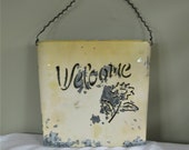 Chippy Galvanized Flower Wall Pocket, Welcome and Flower cutout, Twisted Wire Hanger, Shabby Cottage Garden Decor, Door Hanging Planter