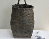 Vintage Woven Wicker Flower Basket, Leather Handle, Hanging Basket Container