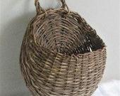 Large Vintage Hanging Flower Basket with Handle, Round Planter Pocket