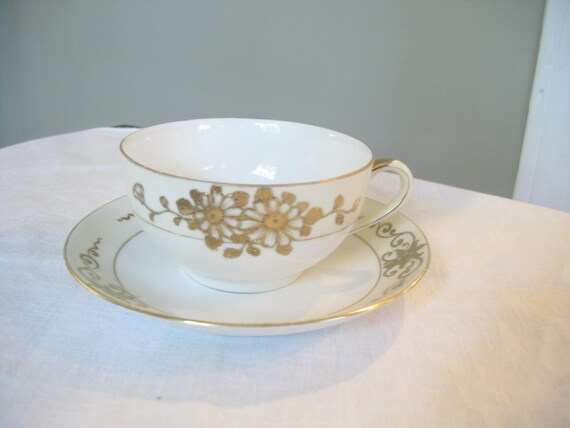 Vintage Tea Cup and Saucer Ceramic Floral Pattern Fine Dining