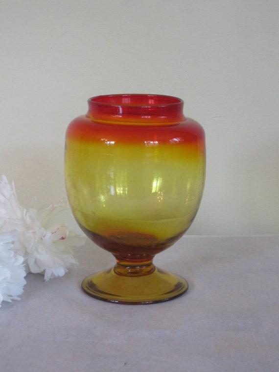 Vintage Red And Amber Vase Candy Jar Blown Glass Pedestal Etsy