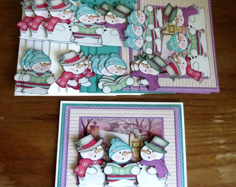 Caroling Snowmen Winter Any Occasion  Card kit - Hand Made,  Makes 4 cards with envelopes. Birthday, Thinking of You, Get Well, Thank You