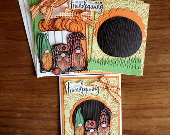 DIY Thanksgiving Card Kit, Gnome cards, Gnomes and Pumpkins, Friendship cards, Birthday cards, Thinking of you cards, Thanksgiving cards