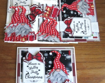 DIY Red Christmas Gnome Kit, Christmas Cards, Merry Christmas, Holiday Cards, Handmade Card Kit, Holly Jolly Christmas, Cute Christmas Cards