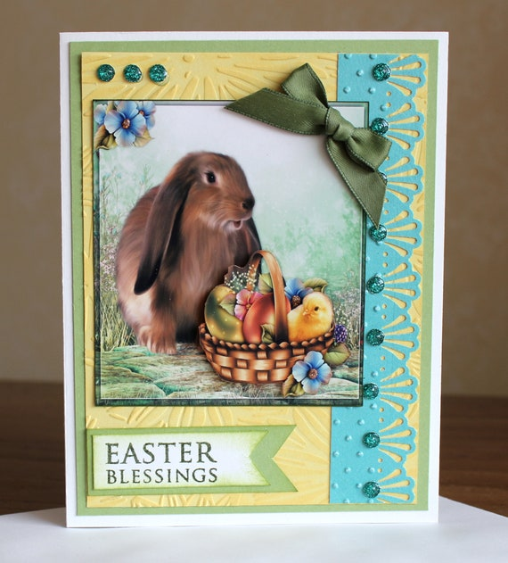 Easter Greetings Cute Easter Basket Card Embellished 3D Greeting Cards