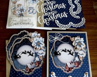 DIY Card Kit, Christmas Easel Card, Merry Christmas, 3D Card Kit, Santa Sleigh and Reindeer, Holiday Greetings, Blue Christmas,