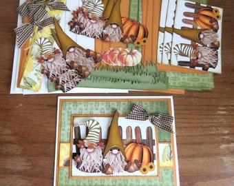 DIY Card Fall Gnomes Card Kit, Handmade, Autumn Greeting Card, All Occasion Card, Birthday Card, Thinking of You, Get Well, Thanksgiving