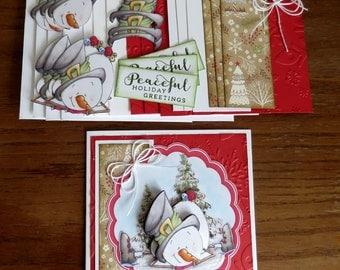 DIY Card Kit, Christmas Cards, Hanukkah Cards, Holiday Greetings,  Holiday Card Kit, Xmas Card Kit, Christmas Card Kit, Snowman Cards