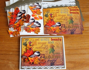DIY Card Kit, Handmade Autumn Greeting Card, All Occasion Card, Birthday Card, Thinking of You Card, Get Well, Thanksgiving Card, Fall Leave
