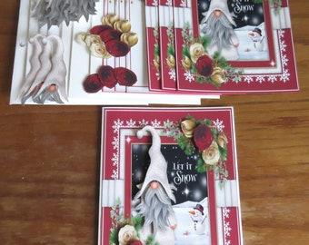 DIY Christmas Gnome Kit, Christmas Cards, Hanukkah Cards, Holiday Cards, Handmade Card Kit, Let It Snow, Winter Any Occasion, DIY Card Kit