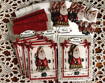 DIY Card Kit-Primitive Santa Card Kit, Christmas Santa Card Kit, Father Christmas Card Kit, Make you own Cards, Vintage Christmas Card Kit