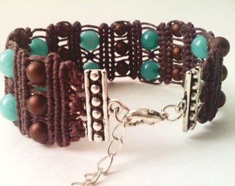 Amazonite and Frosted Brown Glass Waxed Linen Macramé Bracelet