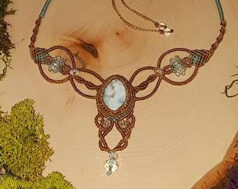 Captivating Domincan Larimar Micro Macrame Necklace