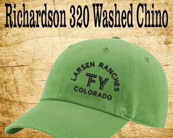 81f8ded07a562 Richardson 320 Washed Chino-Custom Branded Hat -Embroidered- Livestock  Brand Personalized- Farm Ranch Custom Cap - Embroidery - Monogram Hat