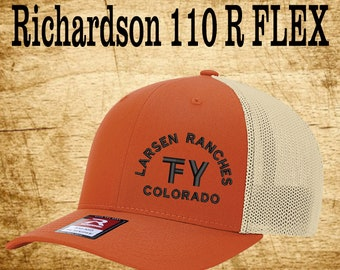 2f59c772abbb1 Richardson 110 Fitted Back -Custom Branded Hat -Embroidered- Livestock  Brand Personalized- Farm Ranch Custom Cap - Personalized Trucker Hat