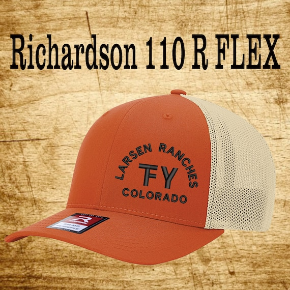 c2d1e293b Richardson 110 Fitted Back -Custom Branded Hat -Embroidered- Livestock  Brand Personalized- Farm Ranch Custom Cap - Personalized Trucker Hat