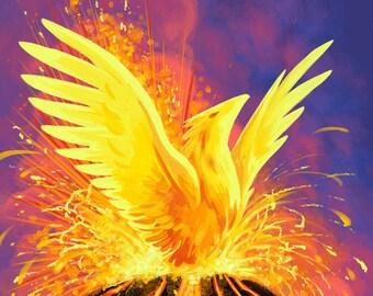 Birth of A Phoenix | Fantasy Art Print | Pheonix Art | Mythology Art | Volcano Art | 8x10 | 11x17