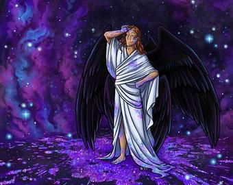 The Starmaker | Fantasy Art Print | Space Art | Angel Art | 8x10 | 11x17