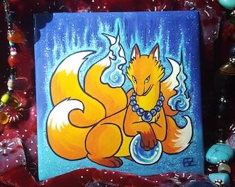 Five-Tailed Kitsune Fridge Magnet | Art Magnet | Animal Magnet | Kitsune Magnet | Fox Magnet