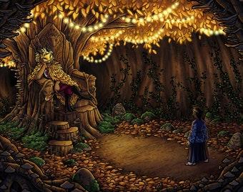 Audience with the Masked King | Fantasy Art Print | Fae Art | Dark Fantasy | 8x10 | 11x17
