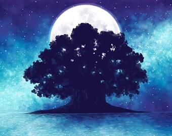 The Starlit Sea | Fantasy Art Print | Fairy Tale Art Print | Magical Landscape | Moon and Stars Art | 11x17 | 8x10
