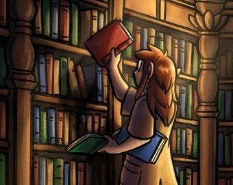 The Librarian - Fantasy Art Print | Library Art | Book Art | Cartoon Fantasy Art | 8x10 | 11x17
