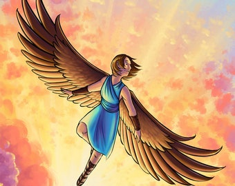 Daybreak | Fantasy Art Print | Angel Art | Sunrise Art | Colorful Art | 8x10 | 11x17