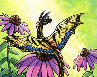 Tiger Swallowtail | Dragon Art Print | Fantasy Art Print | Nature Art | 8x10