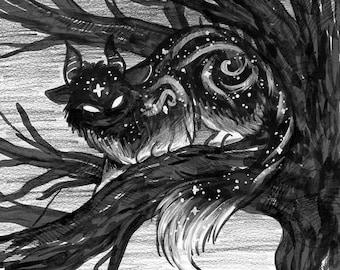 A Shadow Made of Stars - Fantasy Art Print | Magical Creature Art | Fantasy Cat Art | 8x10 | 11x14