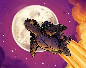 Space Turtle - A New Journey | Fantasy Art Print | Scifi Art Print | Turtle Art | Rocket Turtle | Cute Fantasy Art | 8x10 | 11x17