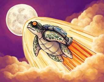 Song of the Space Turtle | Fantasy Art Print | Scifi Art Print | Turtle Art | Rocket Turtle | Cute Fantasy Art | 8x10 | 11x14