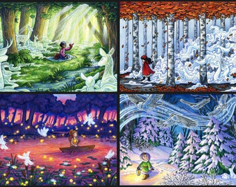 Spirit Forest Complete Set | Fantasy Art Print | Fairytale Art Print | Fantasy Landscape | Four Seasons Art | 8x10 | 11x17