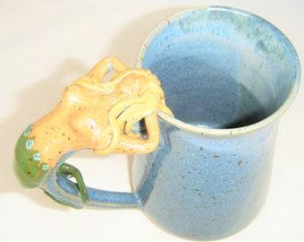 Mermaid Mug Sea Siren Sculptured Cup Blond Hair Ocean Blue Sea Foam Clay Dog Studio