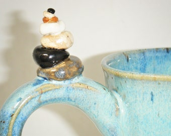 Cairn Mug Rock Cup Blue Green Stone Ceramic Stoneware Art ClayDogStudio