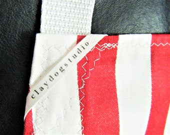 Pottery Apron Split Leg Panel Candy Cane Red White Stripe Basic ClayDogStudio