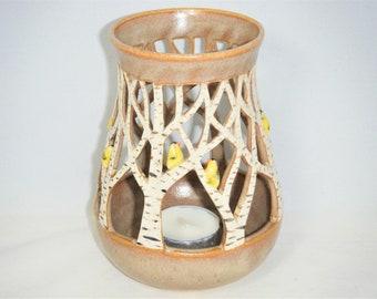 Tree Candle Bird Luminary White Birch Tree Lantern Gold Finch Candle Holder