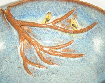 Gold Finch Cereal Bowl Winter Tree Branch Dish Blue Brown ClayDogStudio