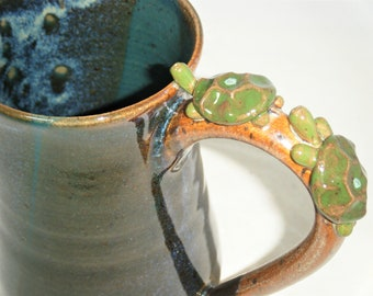 Turtle Mug Two Turtles on a Log Cup Tortoise Pair Blue Spruce Green ClayDogStudio