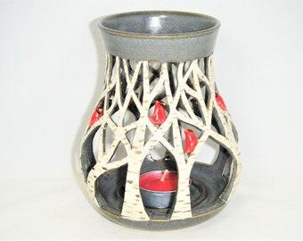 White Birch Tree Candle Holder Red Cardinal Luminary Tree Lantern ClayDogStudio